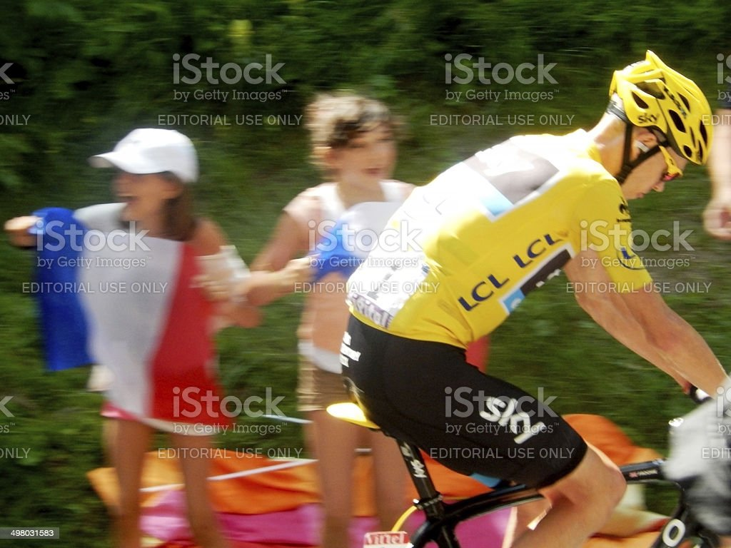 Young Girls Cheer Christopher Froome at the Tour de France stock photo