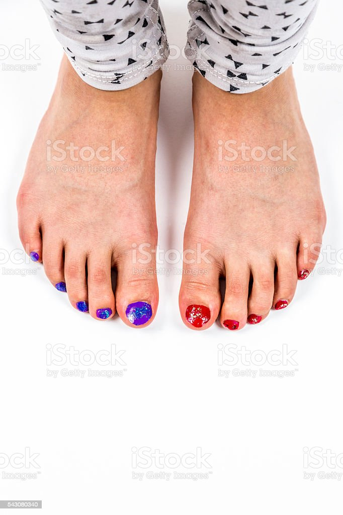 Young Girls Feet Toes With Nail Polish Stock Photo & More Pictures ...