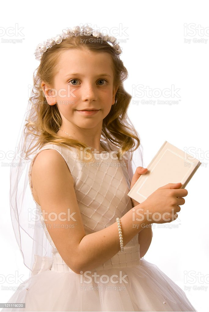 Young girls first Holy Communion stock photo