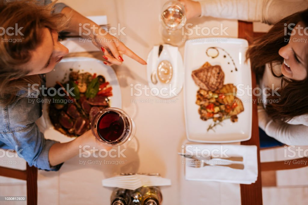 Young Girls In A Restaurant stock photo