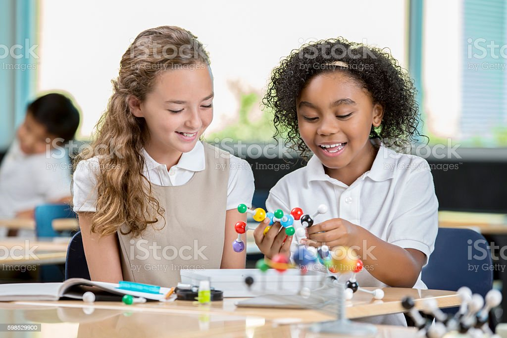 Young girls in science class looking at molecule models stock photo