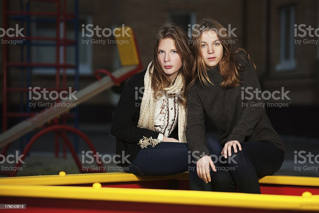 Young girls on the playground royalty-free stock photo