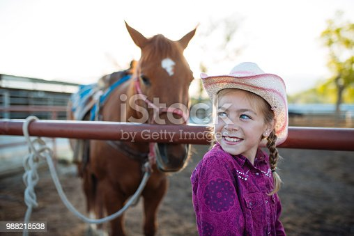 Young girls riding horses at riding school