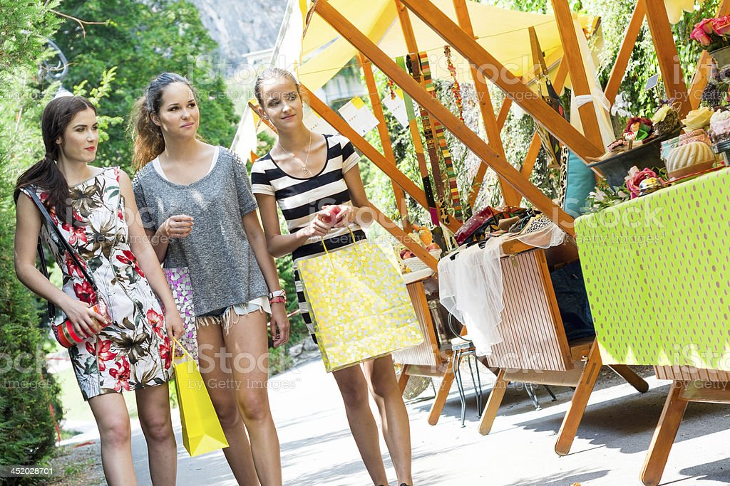 Young girls shopping for  bag royalty-free stock photo