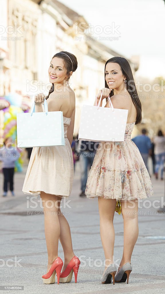 Young girls shopping in the city royalty-free stock photo