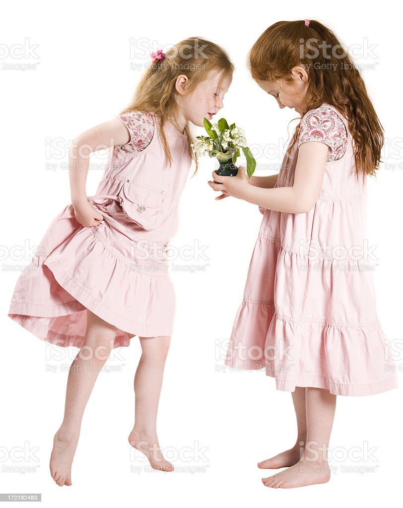 Young girls with flowers royalty-free stock photo