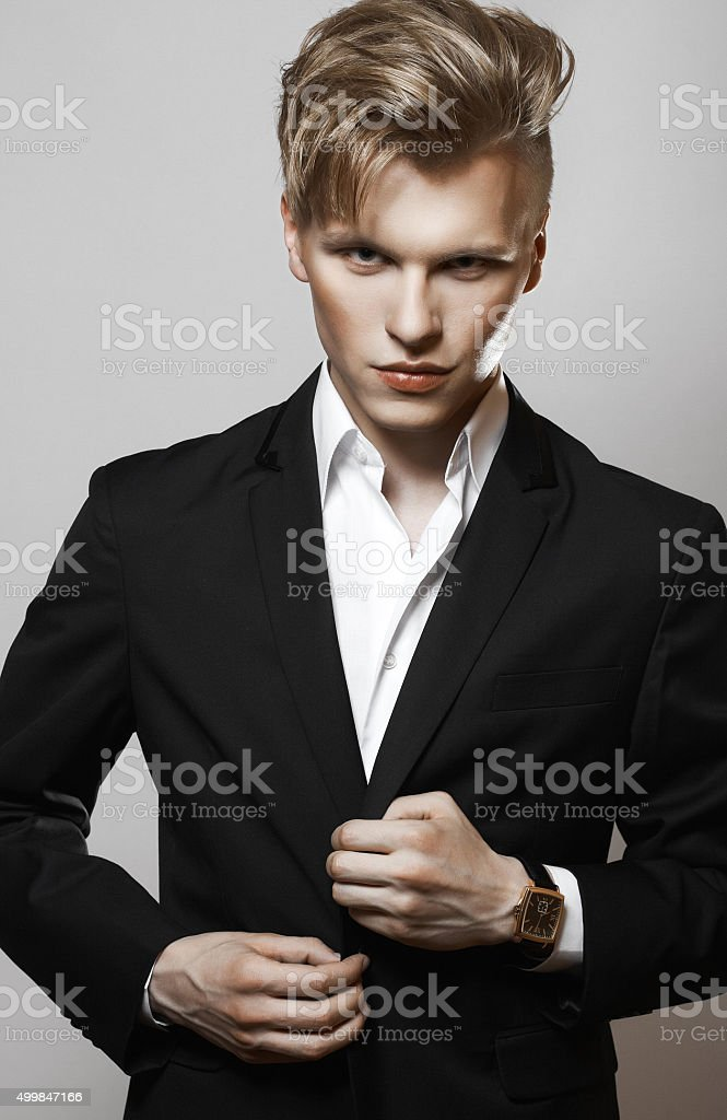Young glamour handsome man stock photo
