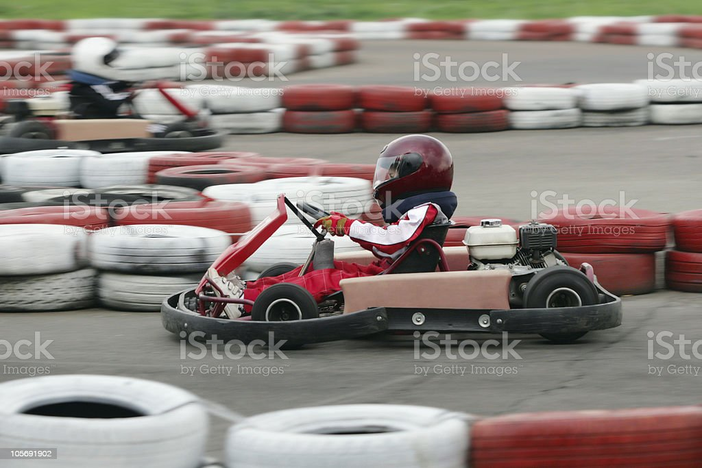Young go cart race royalty-free stock photo