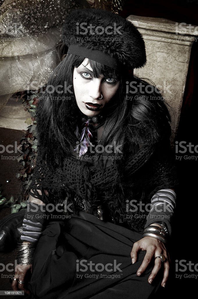 Young Gothic Dressed Woman Posing stock photo