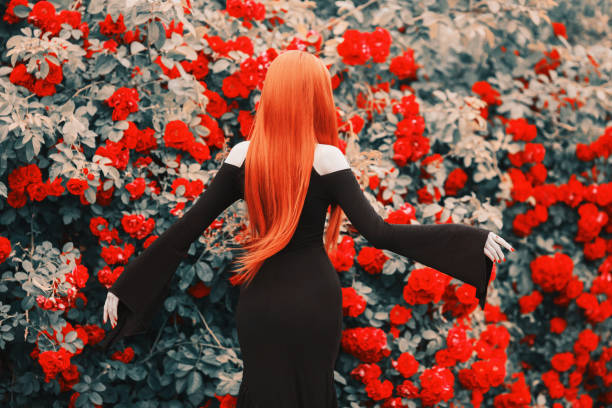 young gothic girl with red lips in black magnificent dress on dark background. redhead pale model on background of roses bush. magnificent woman. fashionable gothic clothes. outfit for halloween. - beautiful curvy girls stock photos and pictures