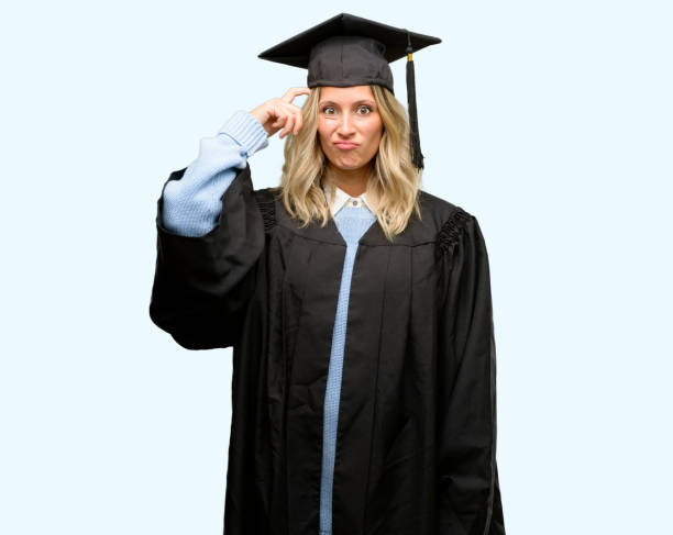 young graduate woman doubt expression, confuse and wonder concept, uncertain future - stupidblonde stock pictures, royalty-free photos & images