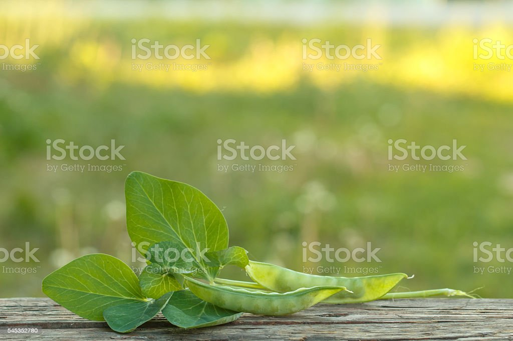 Young green peas on a wooden board стоковое фото