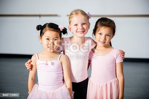 A cute young diverse group of friends at dance class