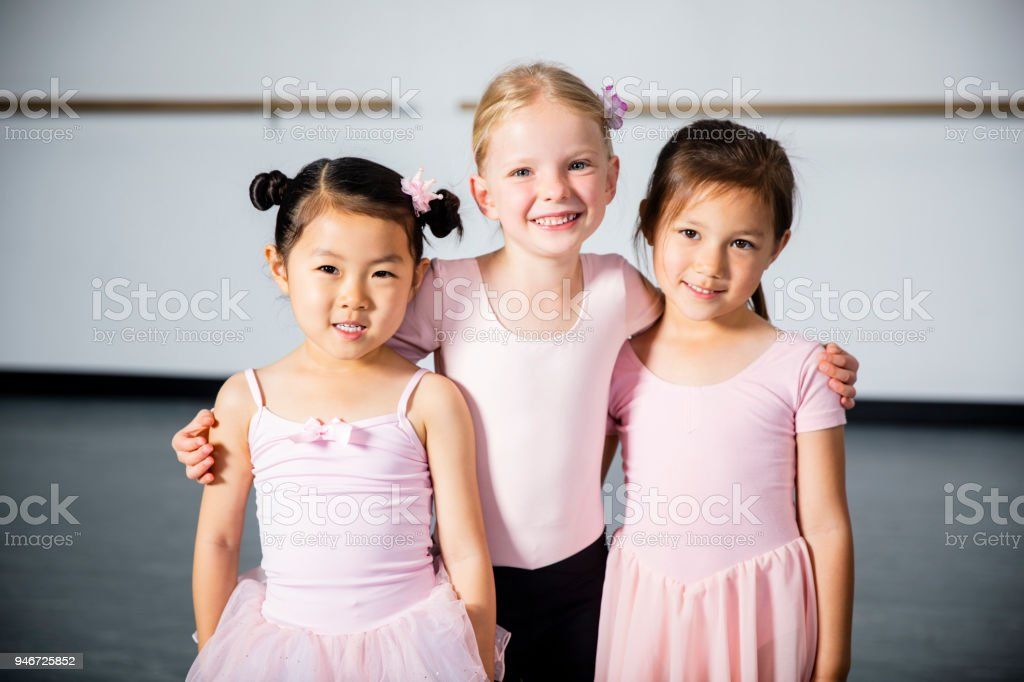 Young Group of Girl Friends at Dance Class stock photo