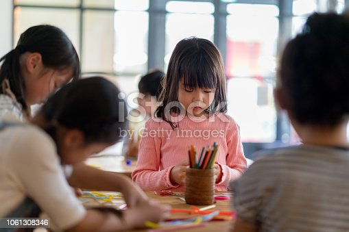 Young group of students in an arts and crafts class. Okayama, Japan
