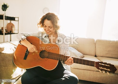 istock Young guitarist in dream scene 922723486