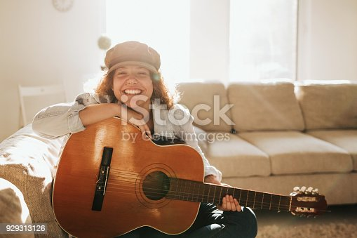 istock Young guitarist in dream scene 929313126