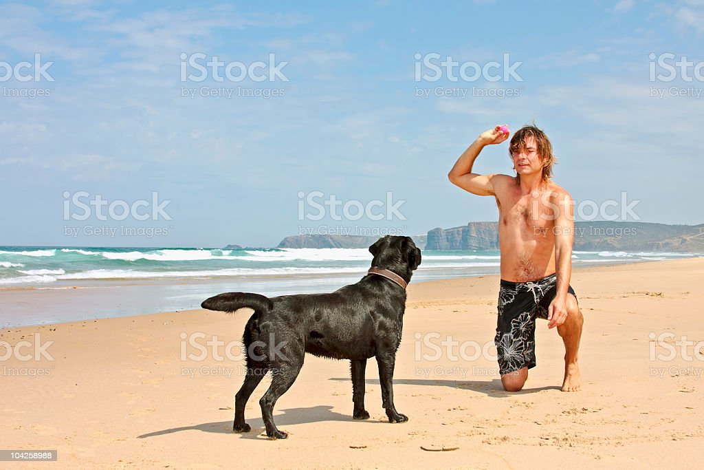 Young guy playing with his dog at the beach royalty-free stock photo