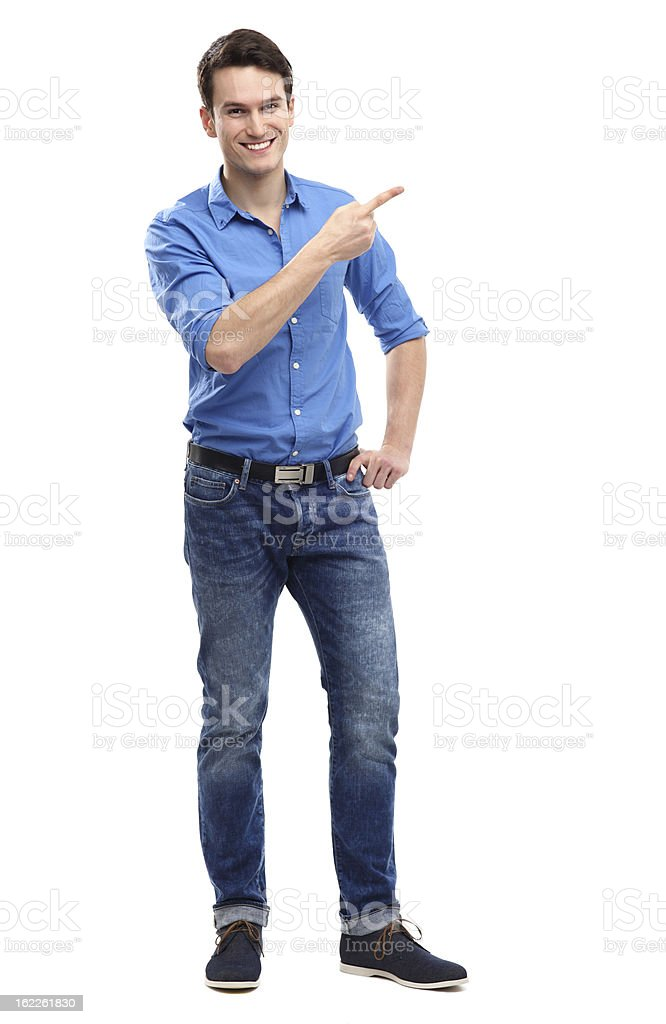 Young guy pointing stock photo