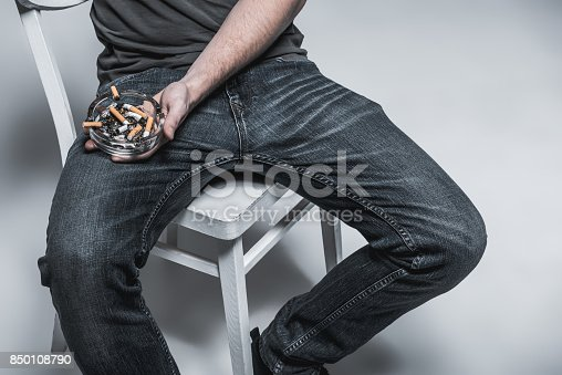 istock Young guy smoking with relaxation 850108790