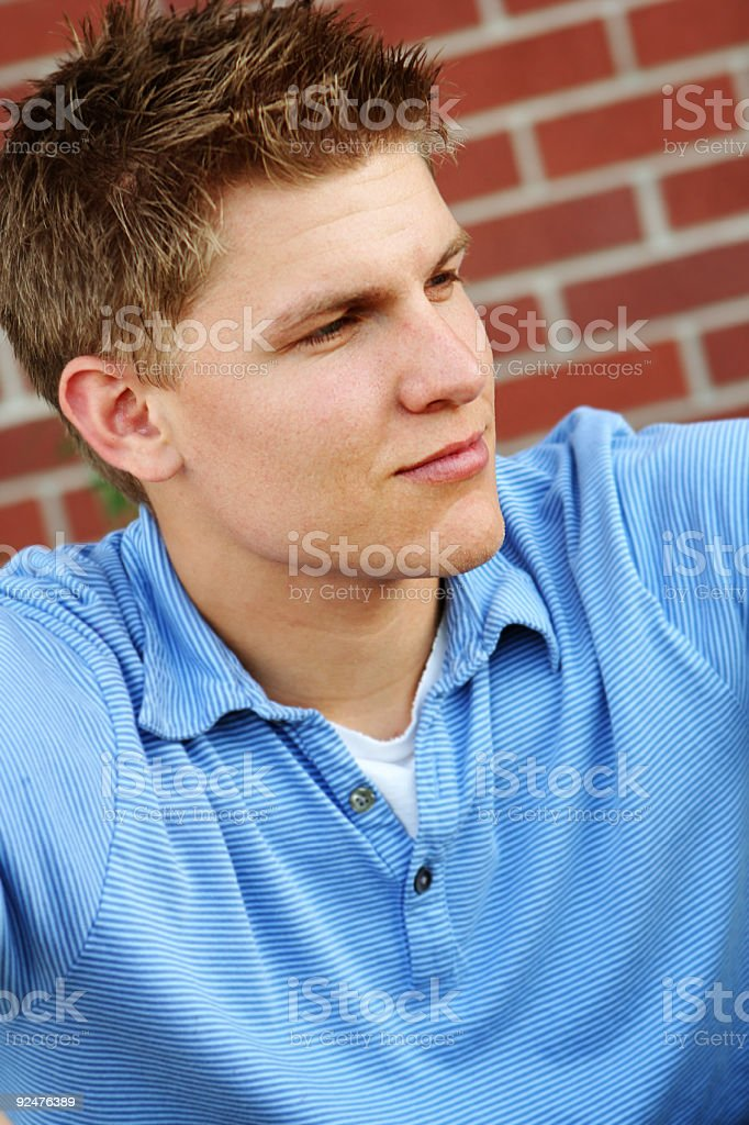 Young Guy with Blue Polo Against Brick Wall royalty-free stock photo