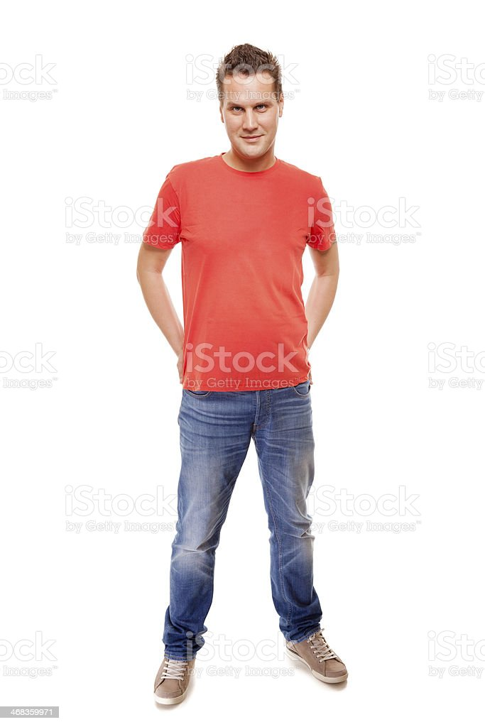 Young guy with hands in pockets isolated royalty-free stock photo