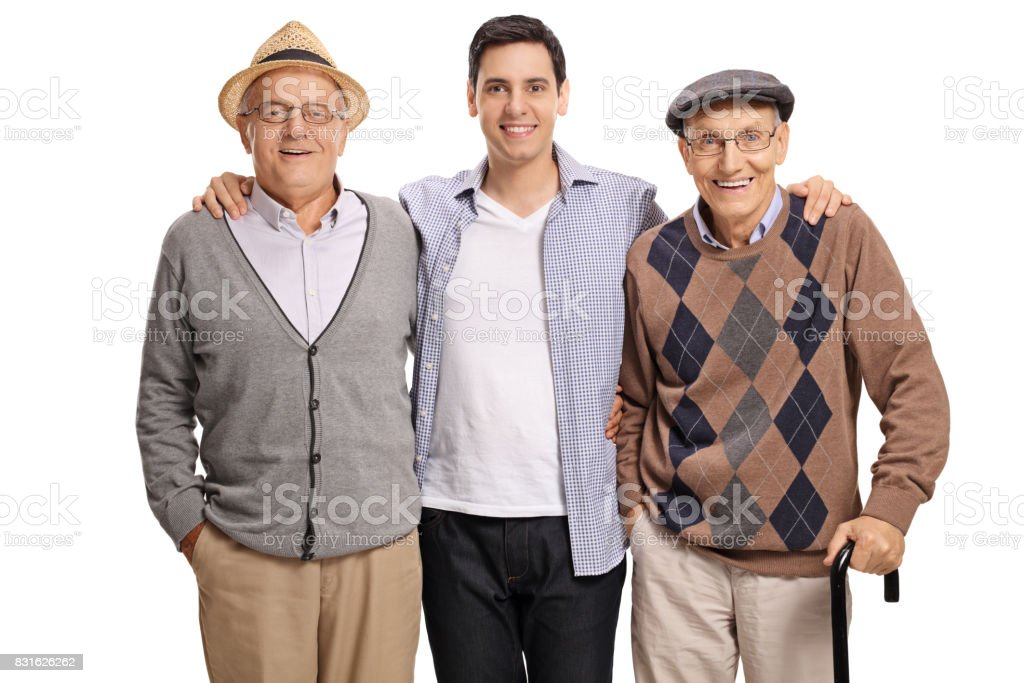 Young guy with two elderly men stock photo