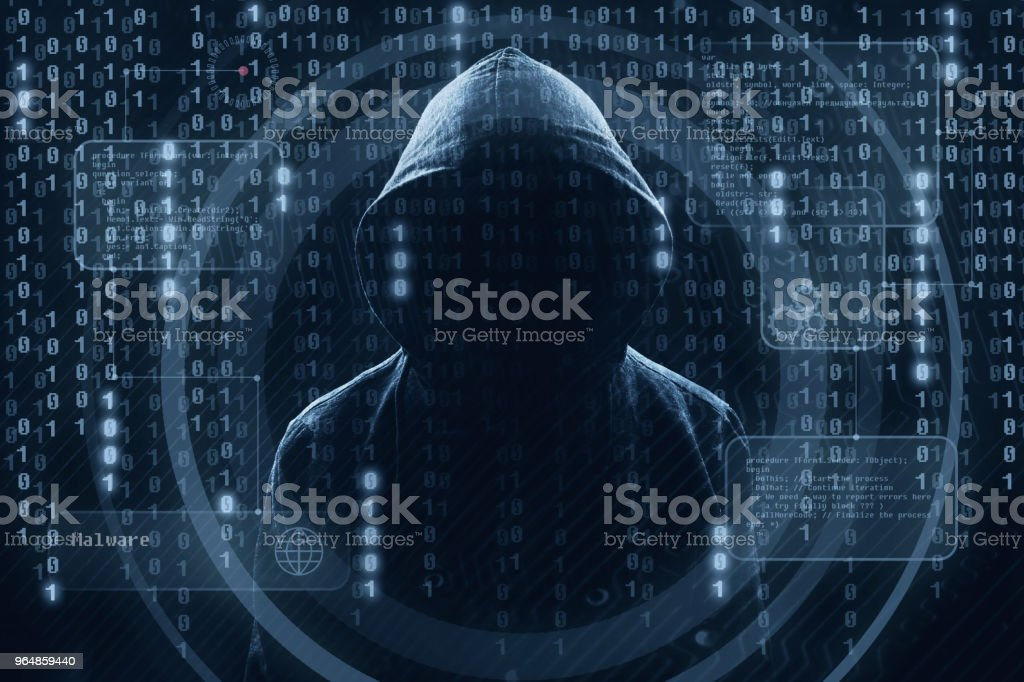 Young hacker in data security concept royalty-free stock photo