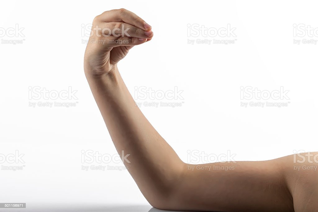 Young hand make Finger purse gesture stock photo