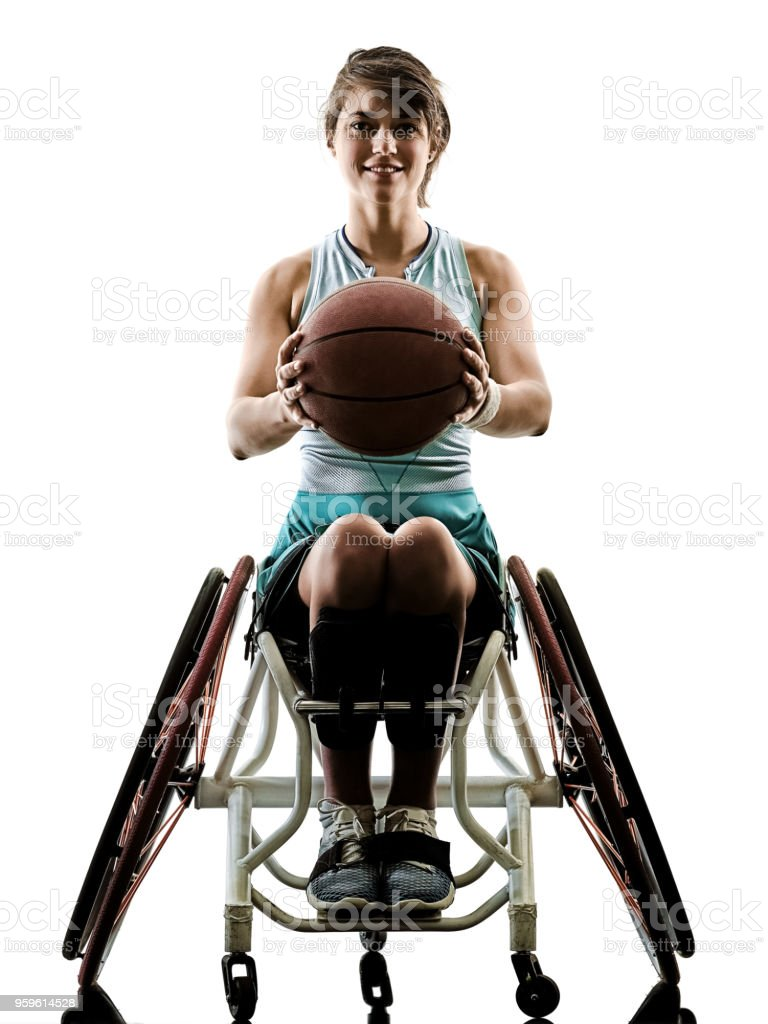 young handicapped basket ball player woman wheelchair sport iso stock photo