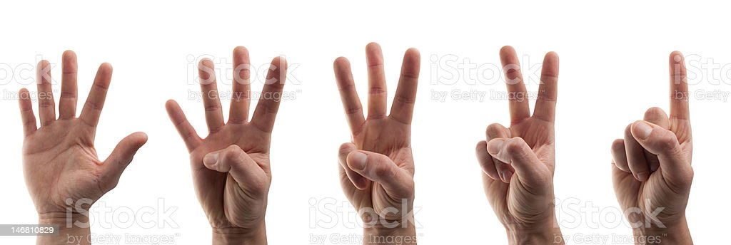 young hands in business shirt as numbers royalty-free stock photo