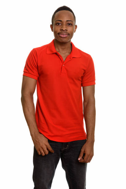 Young handsome African man standing stock photo