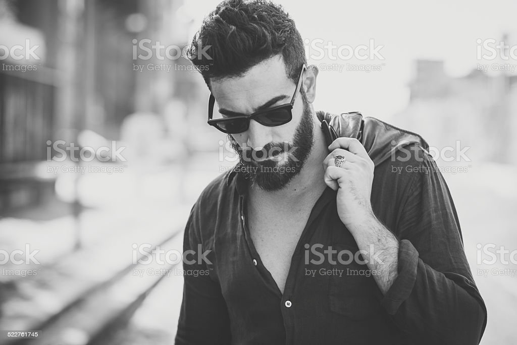 young handsome attractive bearded model man stock photo