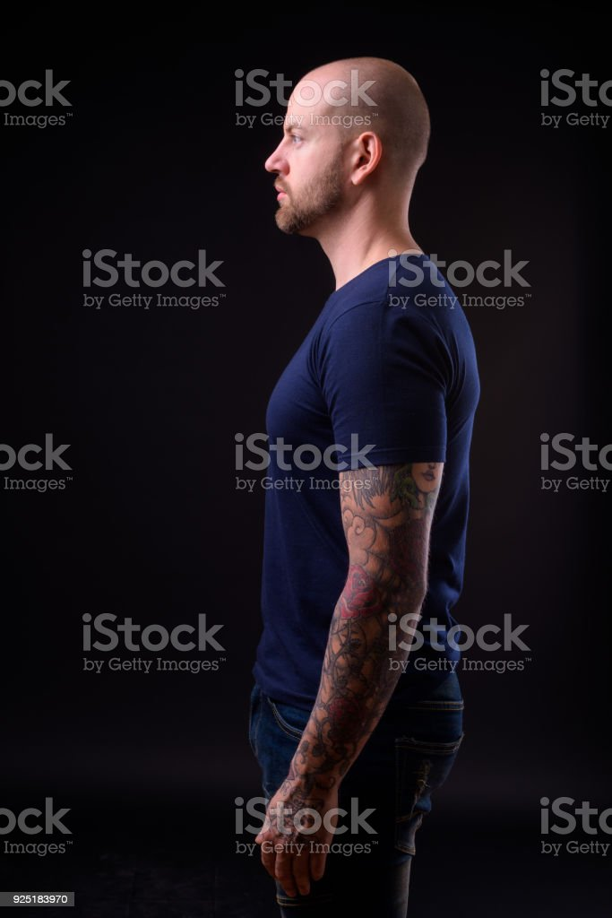 Men with tattoos bald Realistic Hair