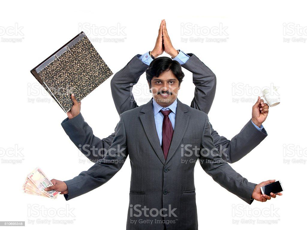 young handsome businessman with six hands stock photo