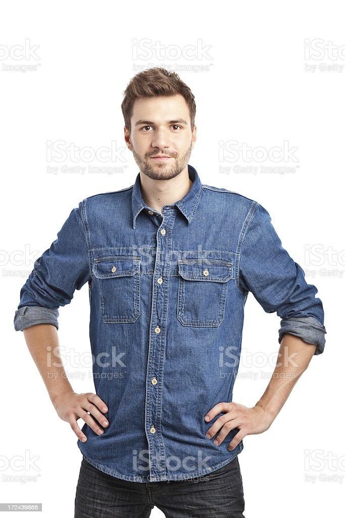 young handsome man in jeans shirt royalty-free stock photo