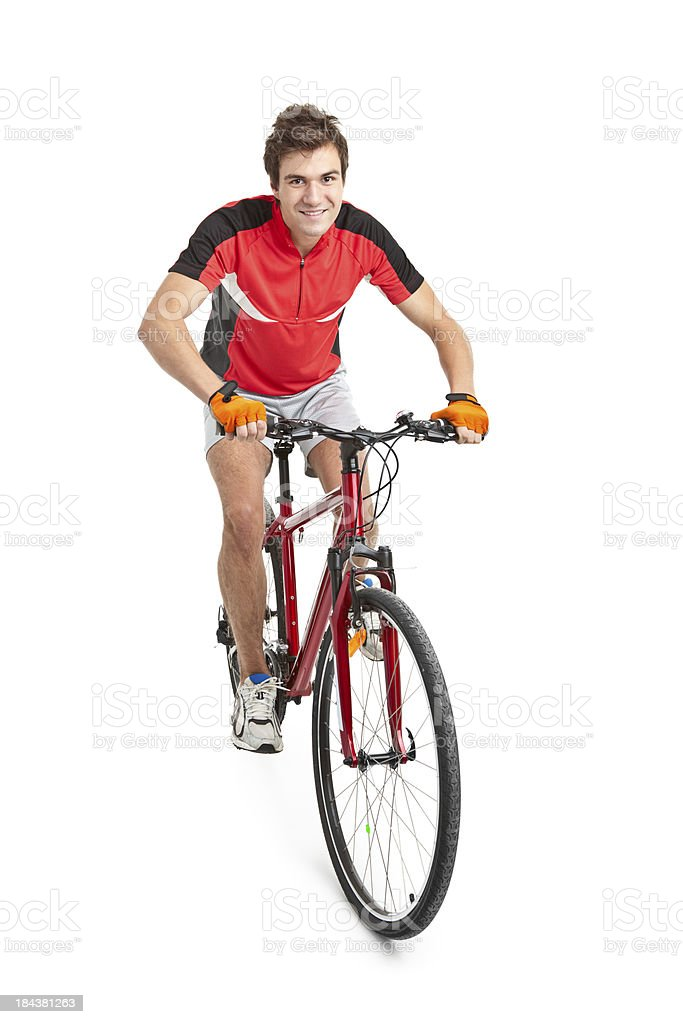 young handsome man on bicycle royalty-free stock photo