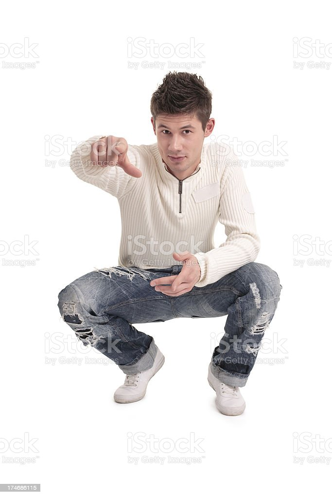 young handsome man pointing royalty-free stock photo