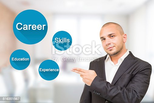 istock Young handsome man shows important attributes in career 516351567