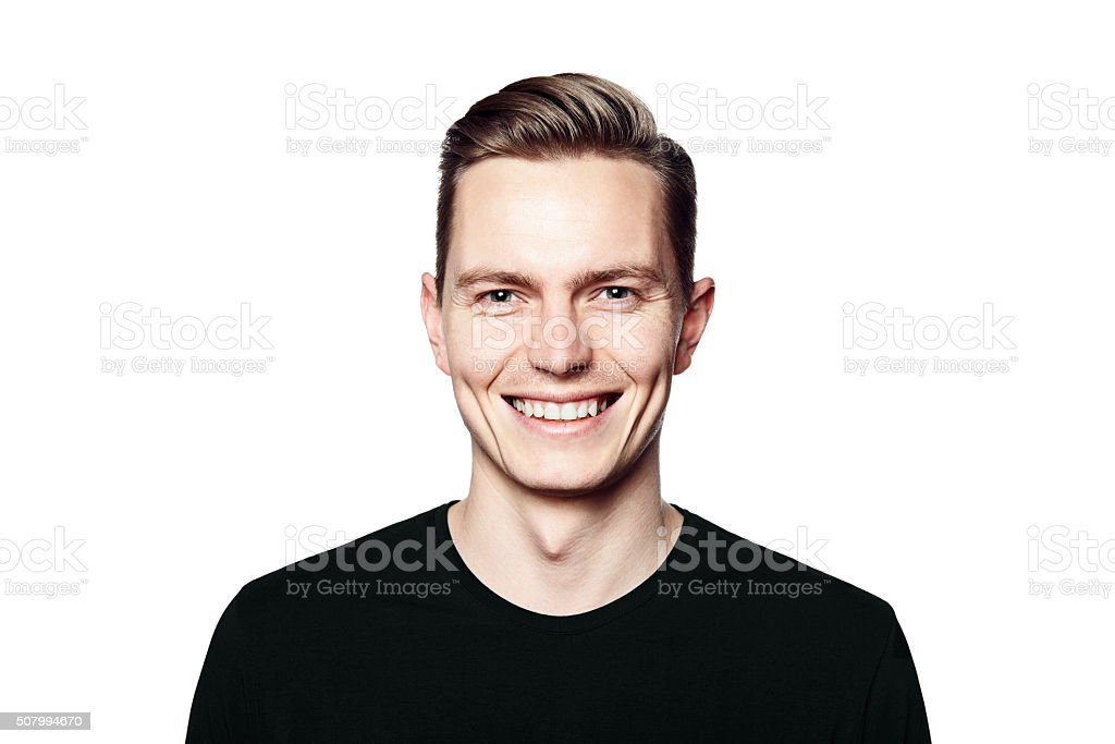 Young handsome man smiling to you stock photo