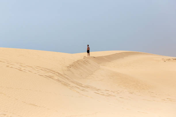 A young handsome man standing on the sand of the dunes in a beach of Fuerteventura stock photo