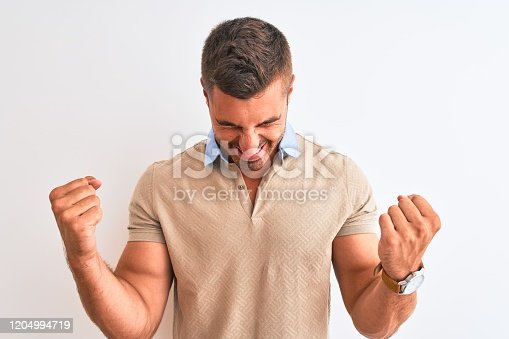 1045886560 istock photo Young handsome man wearing elegant t-shirt over isolated background very happy and excited doing winner gesture with arms raised, smiling and screaming for success. Celebration concept. 1204994719