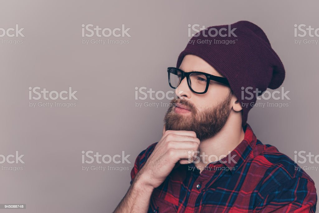 Young Handsome Thoughtful Bearded Man In Hat And Glasses Stock Photo ... 659f81e86391