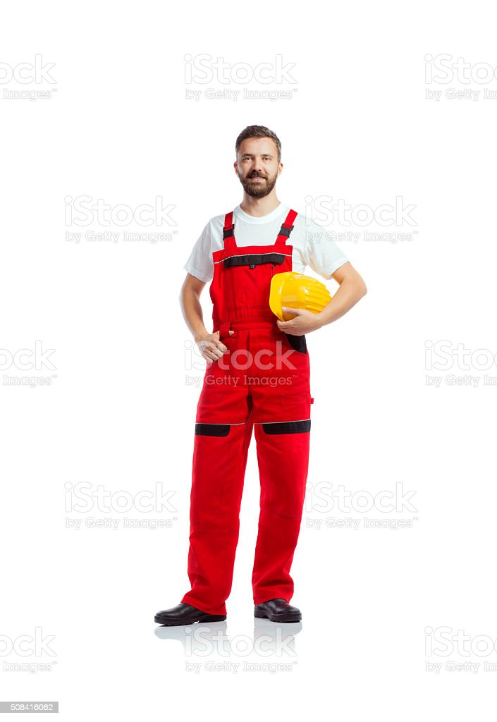 Young handsome worker stock photo
