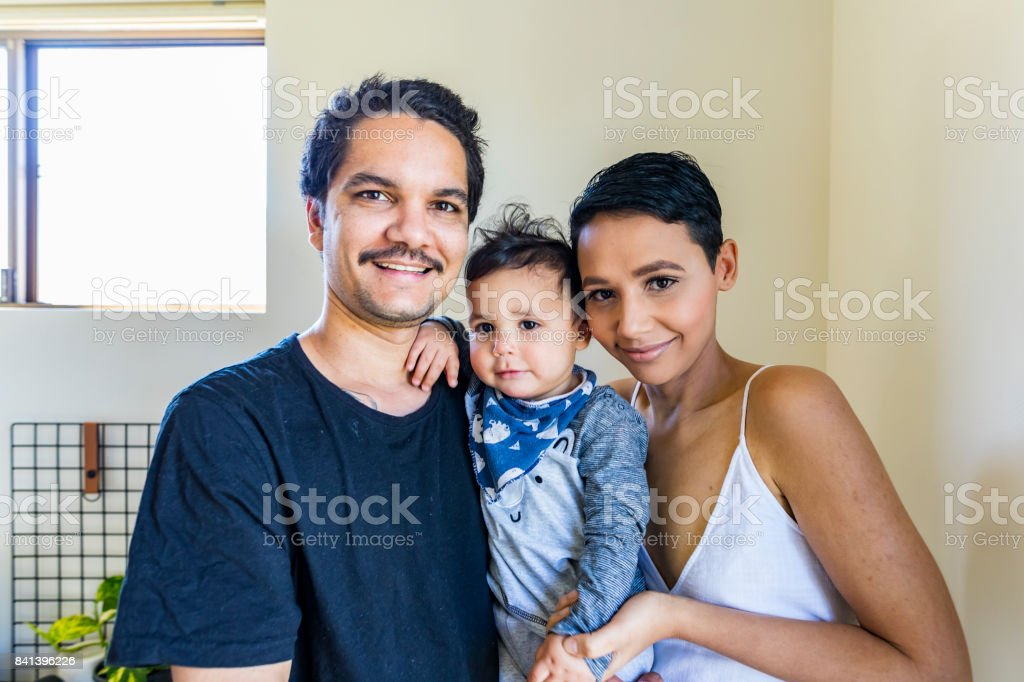 Young Happy Aboriginal Australian Family stock photo