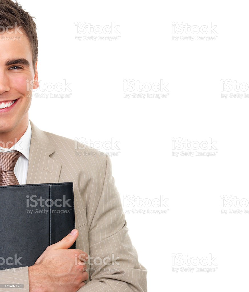 Young happy Business man holding folder with paperwork royalty-free stock photo