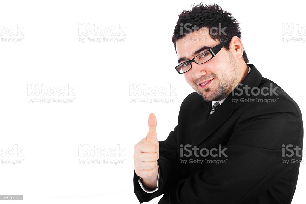 young happy businessman with thumb up royalty-free stock photo