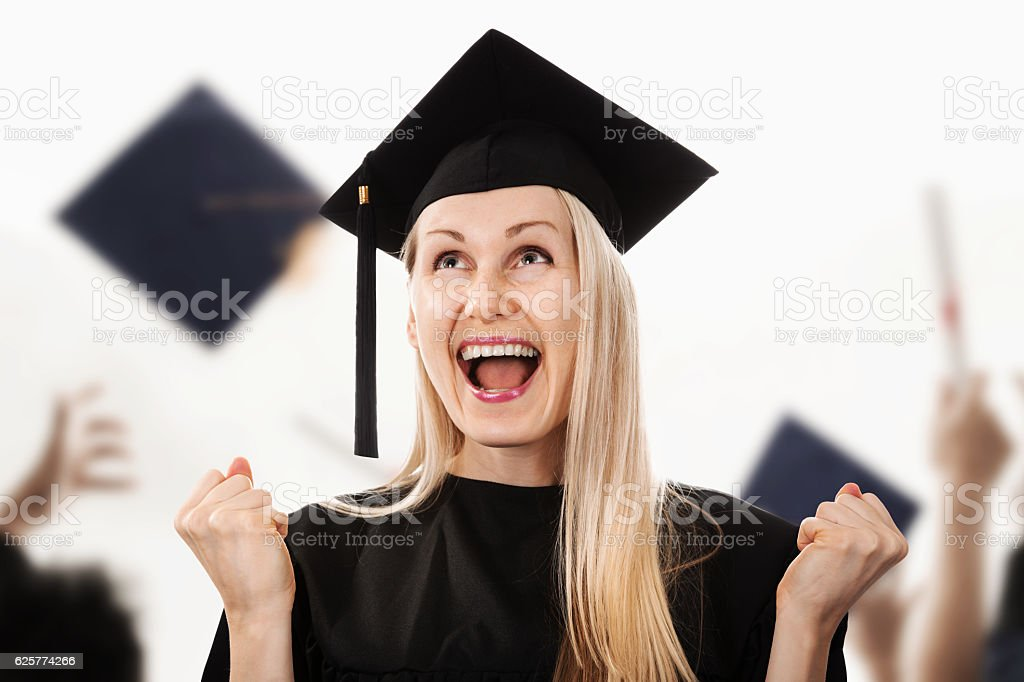 4e8646d8ab9 Young Happy College Graduate Wearing Cap And Gown Stock Photo   More ...