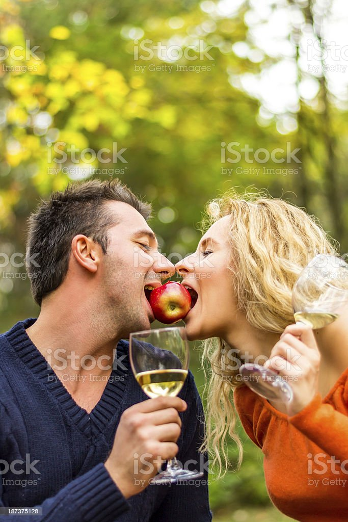 Young happy couple enjoying in autumn royalty-free stock photo