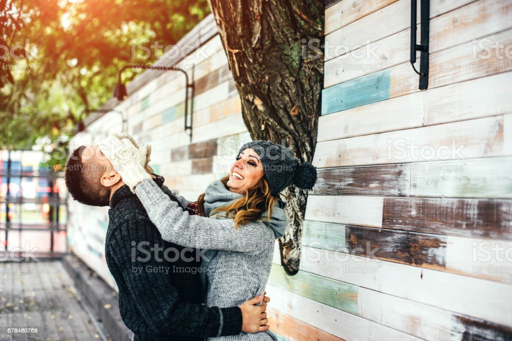 Young happy couple have fun outdoor royalty-free stock photo